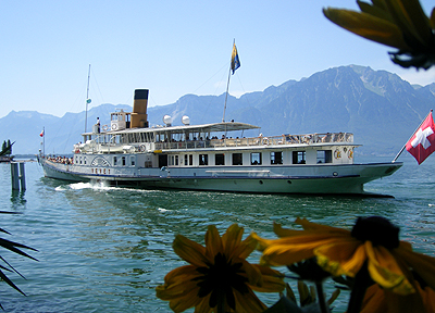 A paddlewheel steamer on beautiful Lake Geneva