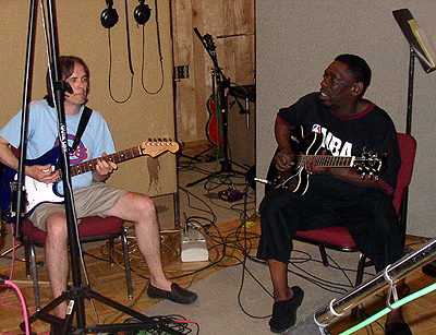 Charlie Morris with Lucky Peterson at Panda Studio